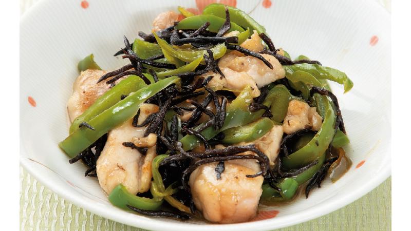【便秘】鶏⾁とひじきの⽢酢煮
