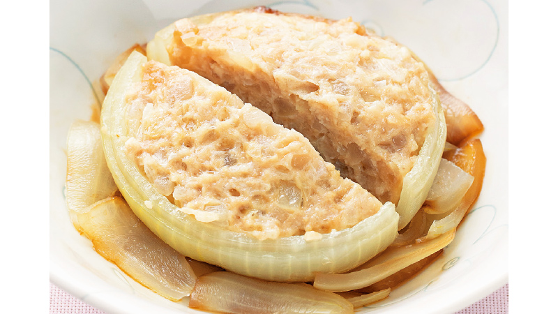【低栄養】玉ねぎの肉詰め蒸し