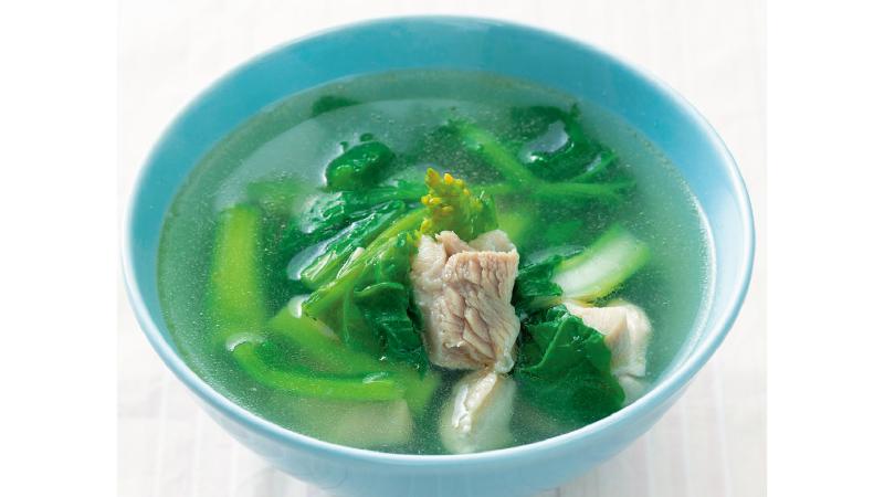 【低栄養】菜の花と鶏肉の中華スープ