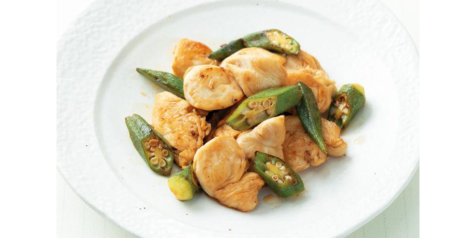 【低栄養】オクラと鶏ささみの甘酢炒め