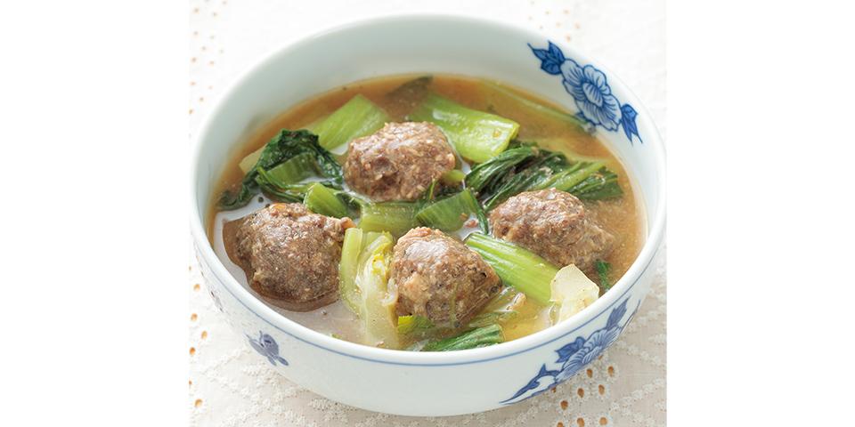 高齢者の健康お助けたんぱく質レシピ 【低栄養】イワシ団子とチンゲン菜のスープ煮