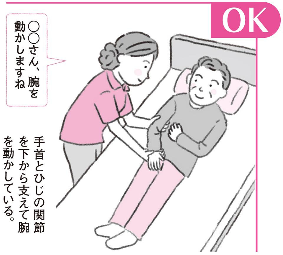 OK 手首とひじの関節を下から支えて腕を動かしている。