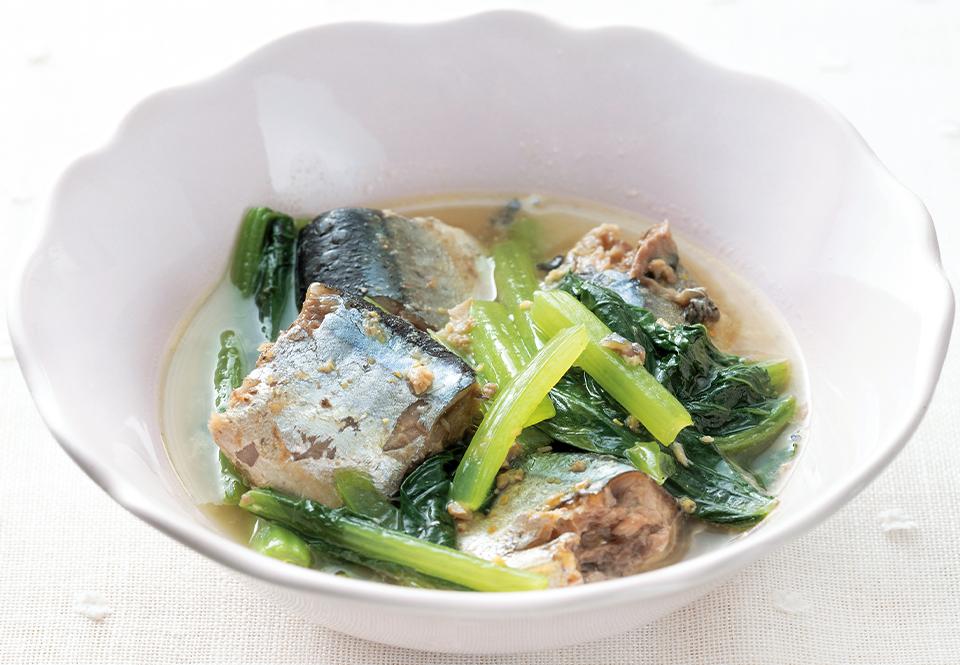 【低栄養】小松菜とサバ缶のからしレンジ煮